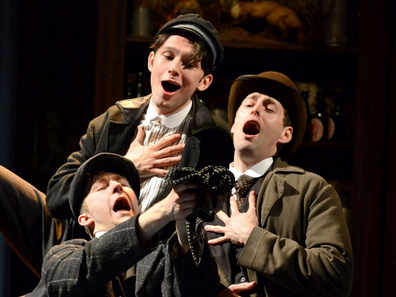 Sam O'Rourke (Buggins), Alex Hope (Sidney), Callum Train (Pierce)  in 'Half a Sixpence' (London)  © Michael Le Poer Trench