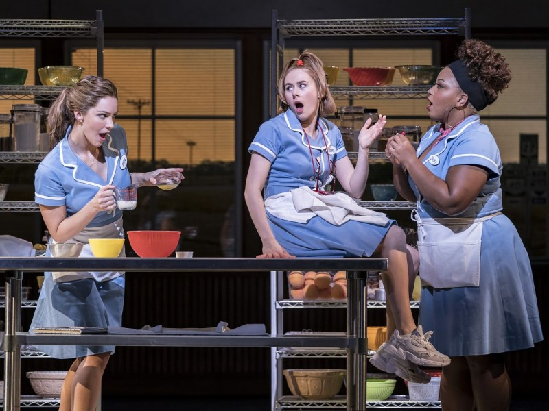 Katharine McPhee (Jenna), Laura Baldwin (Dawn), Marisha Wallace (Becky)  in 'Waitress' (London)  © Johann Persson