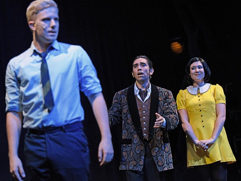 Johannes Atzinger, Tim Speckhardt, Maja Dickmann  in 'The Addams Family' (Wiesbaden)  © Andreas Etter