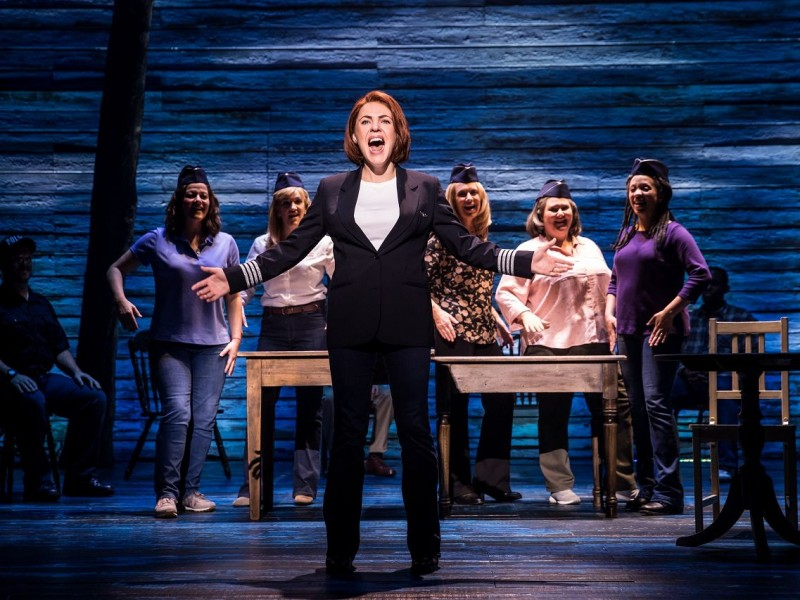 Mary Doherty, Emma Salvo, Rachel Tucker, Helen Hobson, Jenna Boyd, Cat Simmons  in 'Come From Away' (London)  © Matthew Murphy