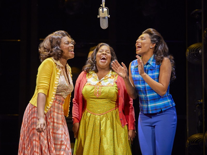 l-r: Ibinabo Jack (Lorrell), Amber Riley (Effie White), Liisi LaFontaine (Deena)  in 'Dreamgirls' (London)  © Brinkhoff / Mögenburg