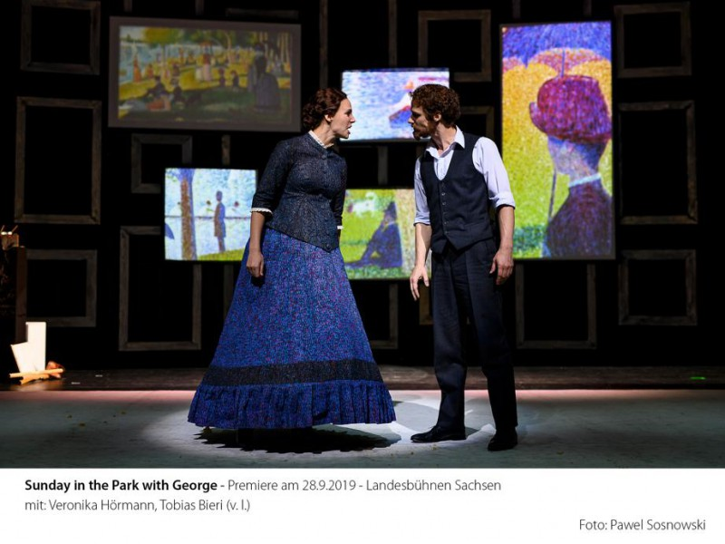 Dot, seine Geliebte (Veronika Hörmann), George (Tobias Bieri)  in 'Sunday in the Park With George' (Radebeul)  © Pawel Sosnowski