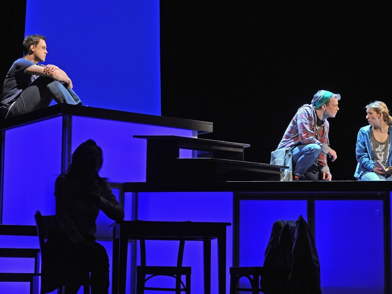Jonas Hein, Tim Müller, Caroline Zins, vorne Caroline Kiesewetter  in 'Fast normal (Next to Normal)' (Hildesheim)  © Andreas Hartmann